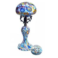 Art Nouveau Millefiori Lamp, Italian Art Glass Gem