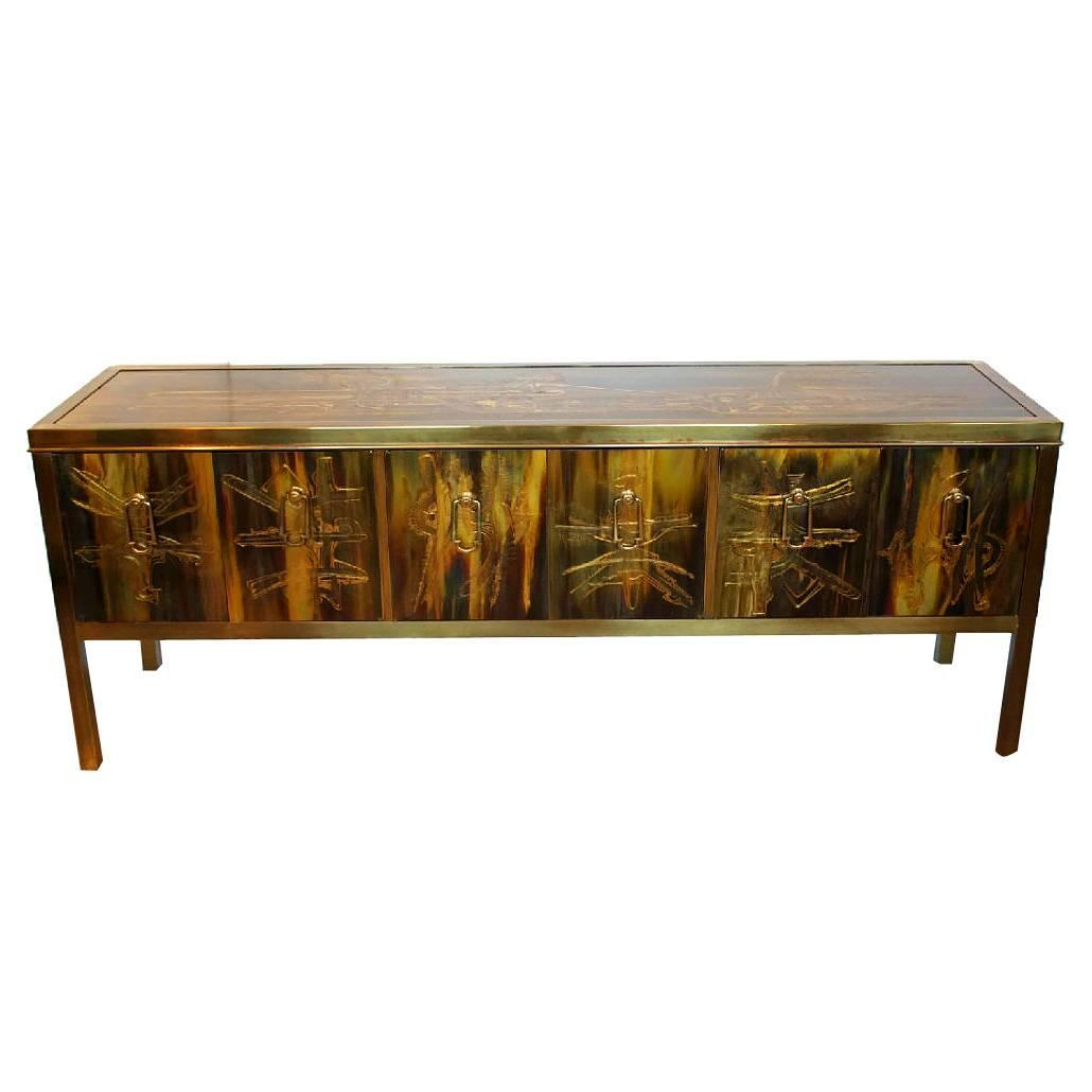Acid Etched Brass Credenza By Bernard Rohne For