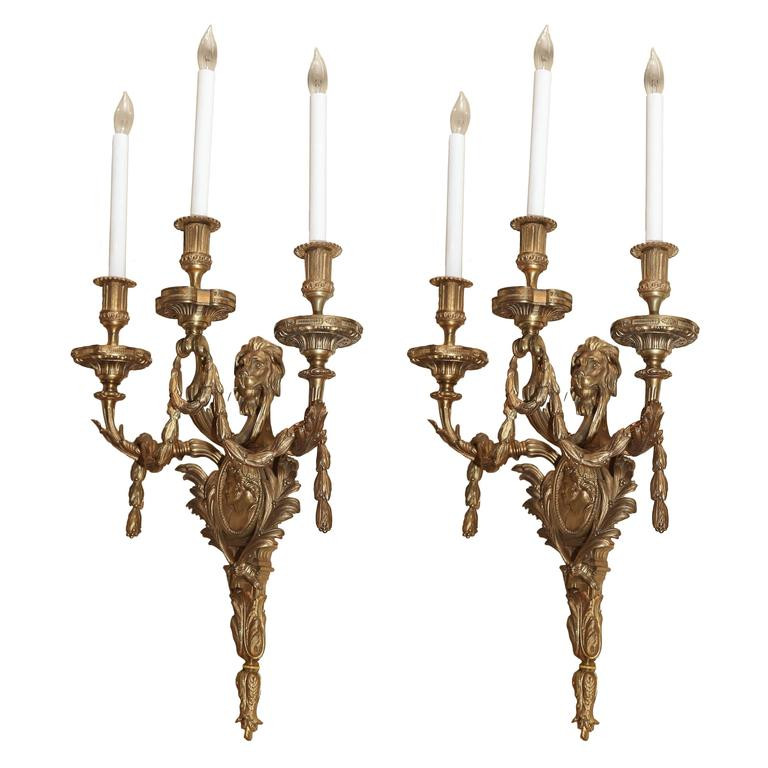 19 th century bronze Dore french sconces For Sale