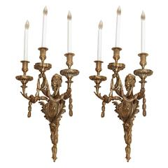 19 th century bronze Dore french sconces