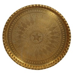 Large  Middle Eastern Syrian Hand-Hammered Brass Tray
