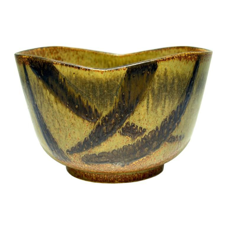 Massive Stoneware Bowl by Eva Staehr-Nielsen for Saxbo For Sale