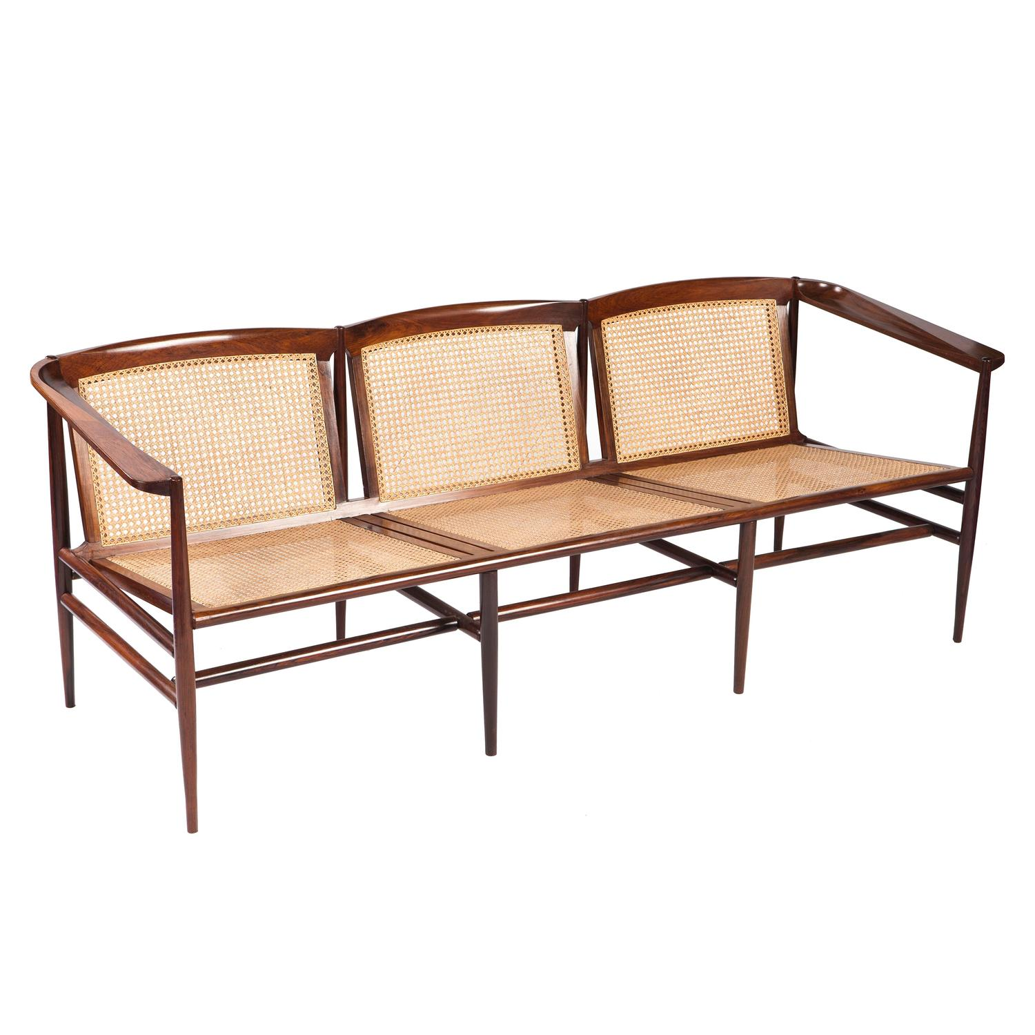 Brazilian Modern Rosewood And Cane Sofa By Joaquim Tenreiro For Sale At 1stdibs