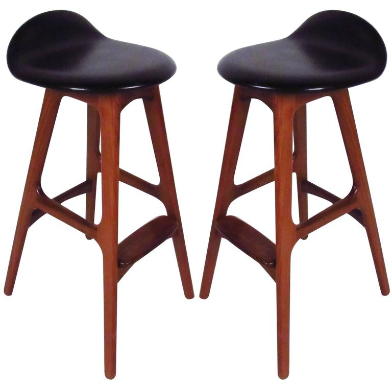 Pair Of Danish Modern Teak Stools By Erik Buch For Sale At