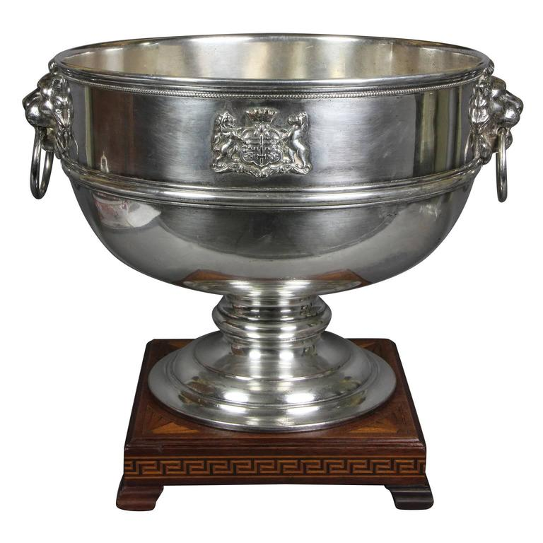 Regency Silver Plated Footed Punch Bowl Bearing the Arms of the City of Bath
