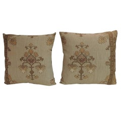 Pair of 19th Century Gold Turkish Embroidery Throw Pillows