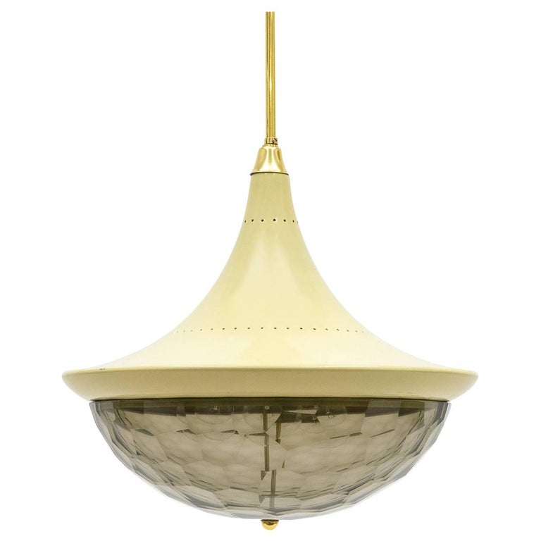 Large Faceted Glass Pendant by Lumi Milano, circa 1960