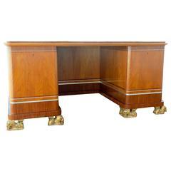 Unique Swedish Art Deco Desk and Armchair  ca 1930 by Carl Bergsten