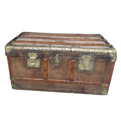 19th Century French Wooden and Brass Trunk, Eugene Laprevotte