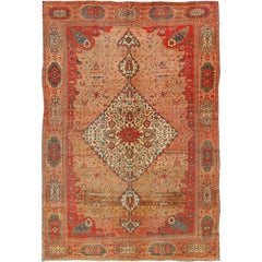 Antique Fine Persian Feraghan Sarouk Rug in Pink, Salmon, Red and Blue