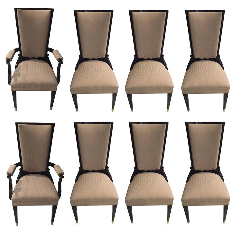 Set of Eight French Art Deco Dining Chairs in the Style of Jules Leleu