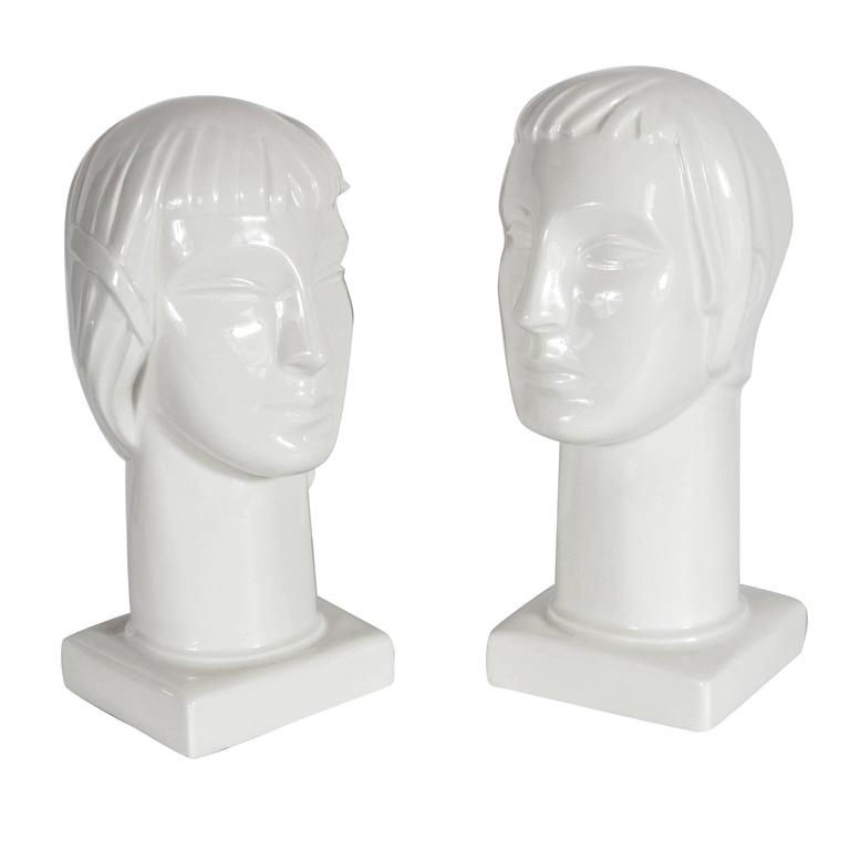 Pair of Art Deco by Geza De Vegh for Lamberton Scammell Porcelain Figure Heads For Sale