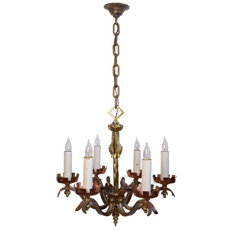 Six Candle Copper, Brass and Iron Gothic Revival Chandelier