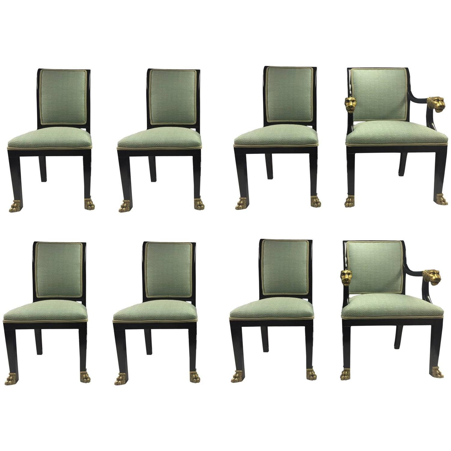 Set Of Eight Lacquered Dining Chairs At 1stdibs
