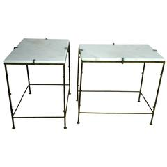 French Patinated Cast Iron Marble-Topped End Tables, circa 1984