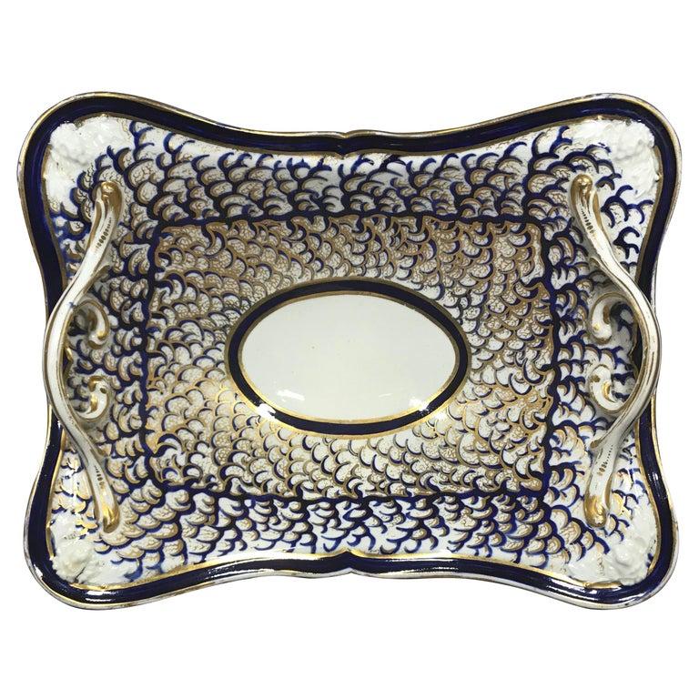 Derby Blue and Gold Porcelain Basket