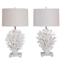Pair of White Coral Table Lamps