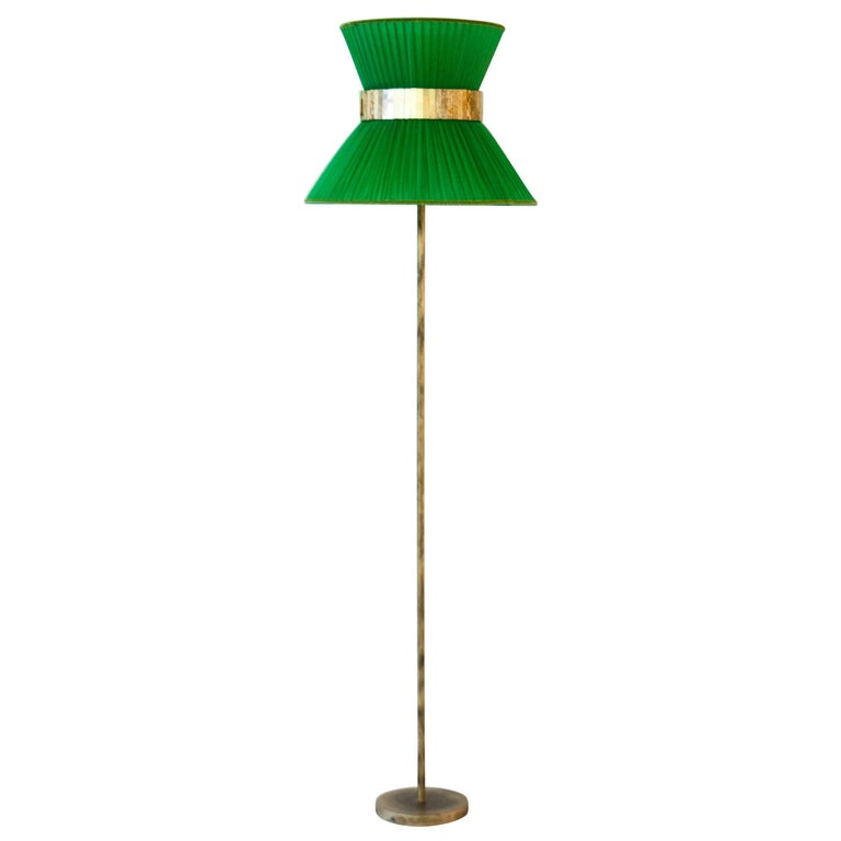 Tiffany contemporary Floor Lamp emerald Silk Antiqued Brass Silvered Glass      For Sale