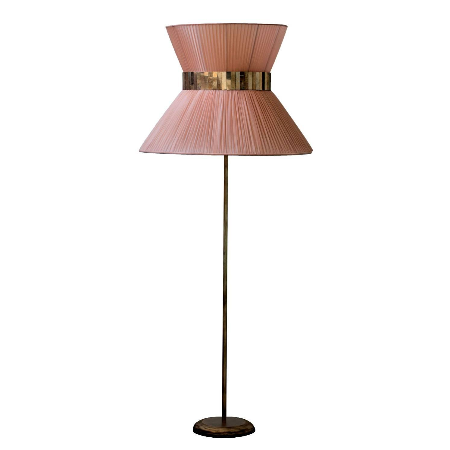 Tiffany floor lamp powder silk shade bronze base silver for Floor lamp with silver base