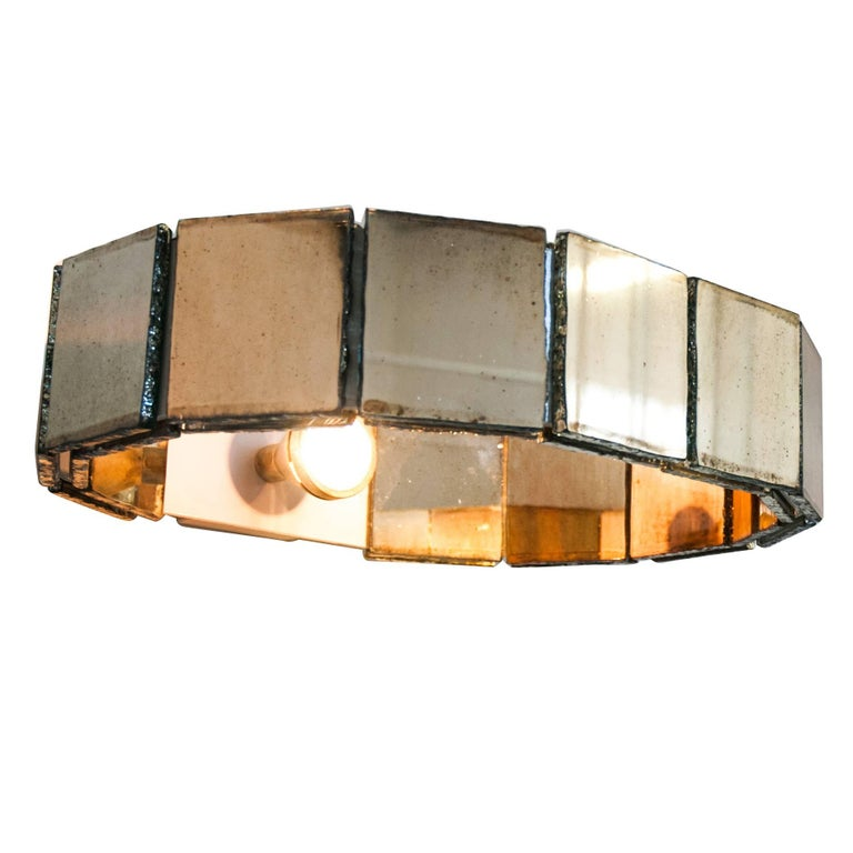 Ring contemporary  Wall Sconce Silvered Glass handmade in tuscany italy For Sale