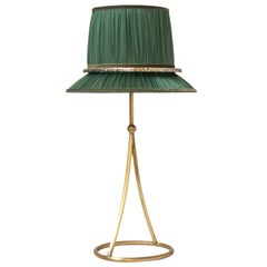 """Pretty"" Table Lamp in matt Brass, sage Organdy Silk, Silvered Glass circle"