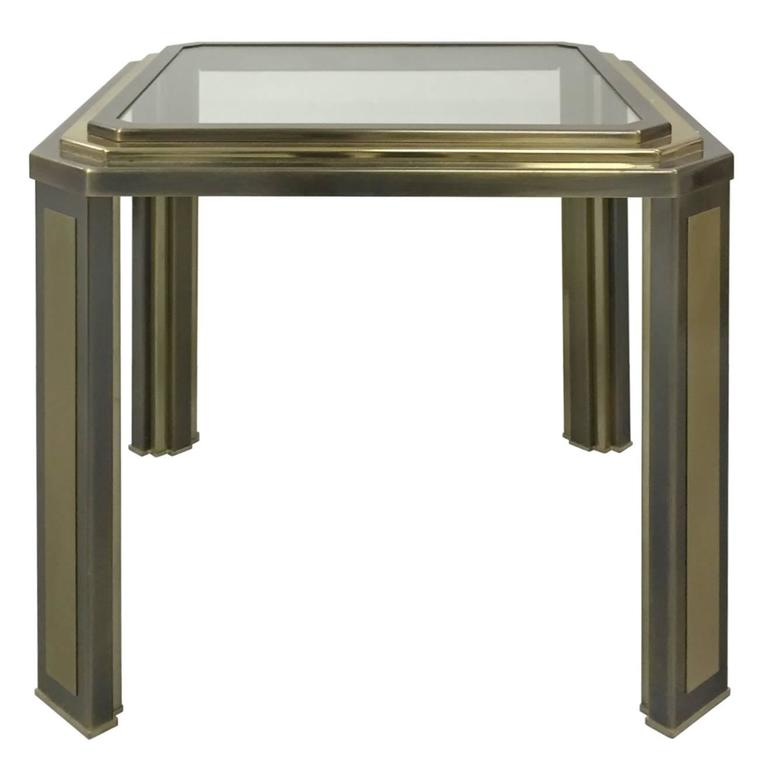 1970s french two tone brass cut corner side table with for Corner side table