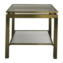 1970's French Satin Brass Two-Tier Square Side Table by Guy Lefevre