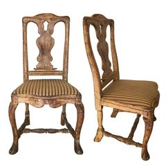 Pair of 18th Century Rococo Chairs, Sweden c. 1740