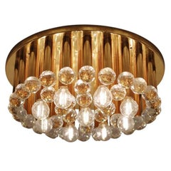 One of Three Huge Glass Crystal Drops and Brass Flush Mount by Ernst Palme