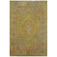 Antique Hand-Knotted Green Color Wool Turkish Oushak Rug