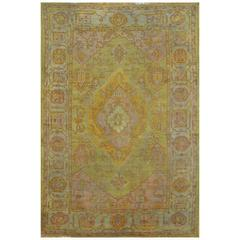 Antique Hand-Knotted Turkish Oushak Rug