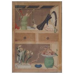 "Set of Six 18th Century Korean Color Inks ""Trompe-L'oeil Wood Imitation"""