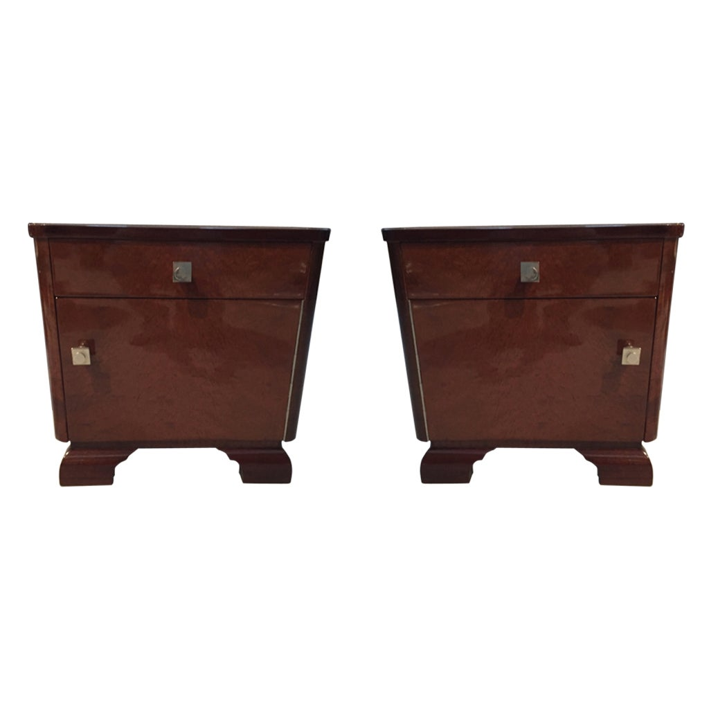 Pair of French Art Deco Nightstands Tables