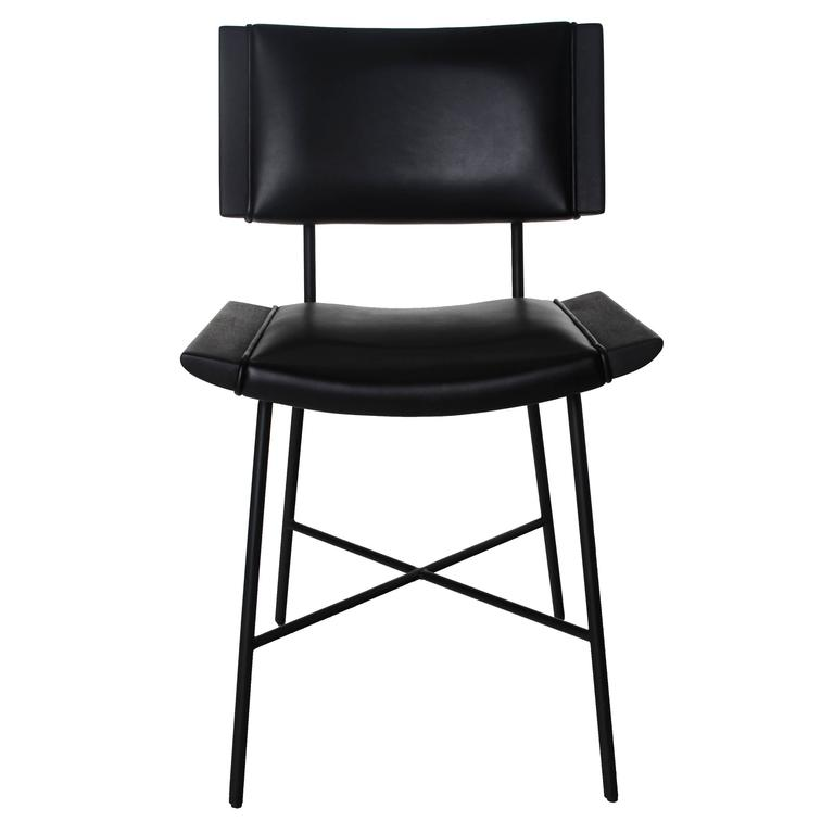 Alessandra Chair with Blackened Steel Frame by Thomas Hayes Studio