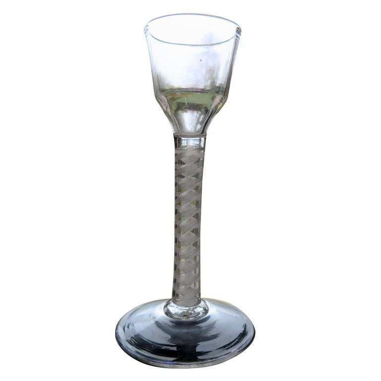 Mid 18th C Cordial Wine Glass Hand-blown Cotton Twist Stem, English circa 1765