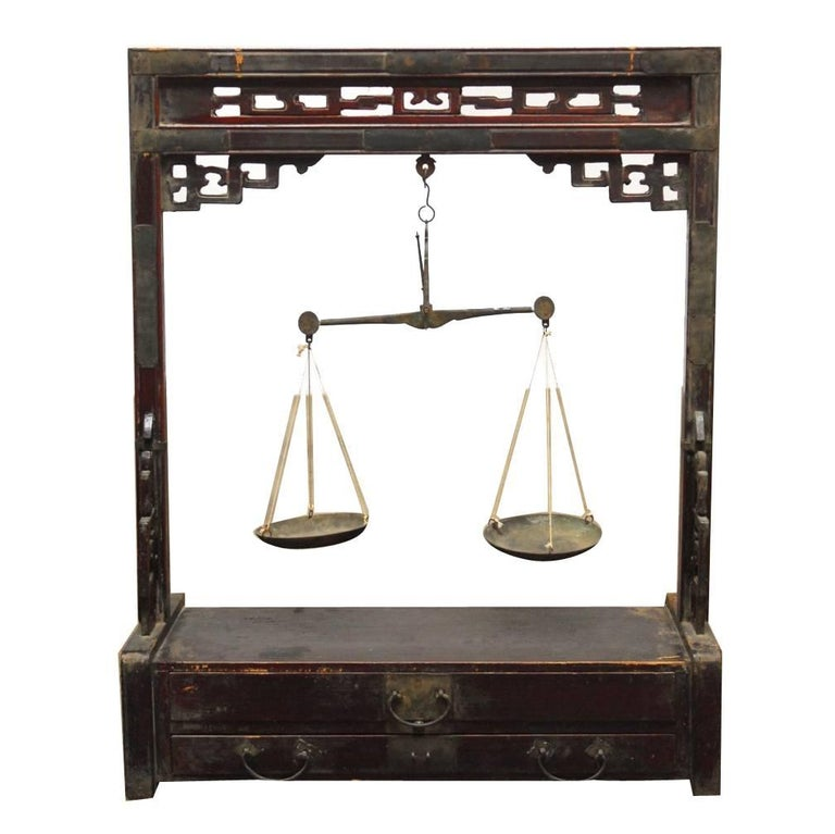 19th Century Chinese Apothecary Balance Scale Stand For Sale