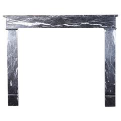 19th Century Louis Philippe Grey Marble Antique Fireplace Mantel