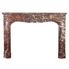 19th Century Antique Fireplace Mantel in Brown and Red Belgian Marble