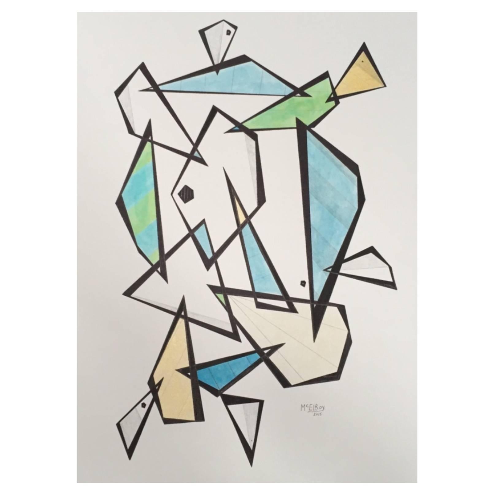 Steve McElroy Original India Ink and Pencil Drawing on Paper, Signed, Framed