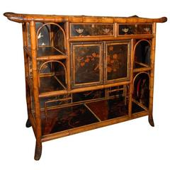 English Bamboo Console Cabinet with Lacquered Doors