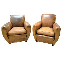 1920s French Art Deco Leather Lounge Cigar Cub Chairs