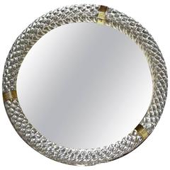 Large Venini Murano Round Twisted Glass Rope Vanity Tray