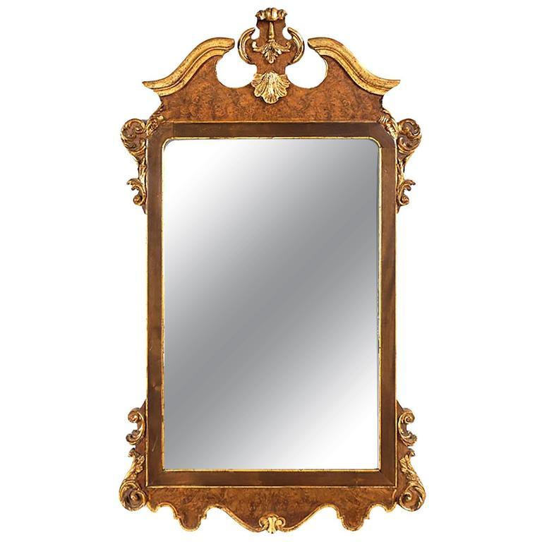 La Barge Italian Burl And Gilt Georgian Style Mirror For