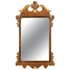 La Barge Italian Burl and Gilt Georgian Style Mirror