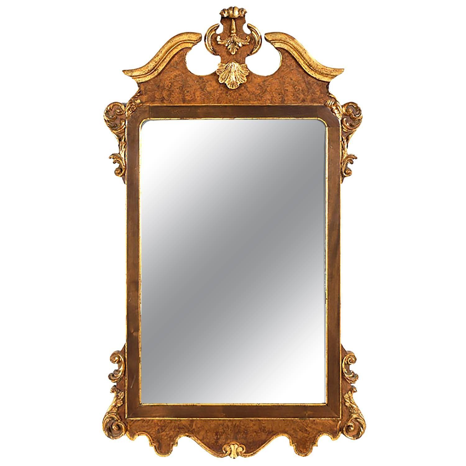 La Barge Italian Burl And Gilt Georgian Style Mirror For