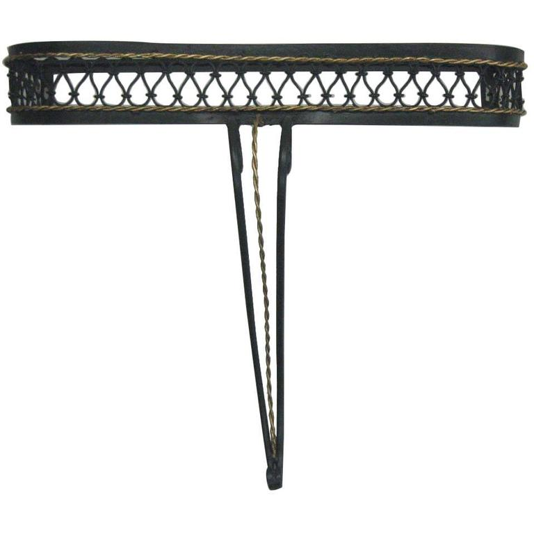 French Mid-Century Partially Gilt Wrought Iron Wall Console Attr. to Rene Prou For Sale