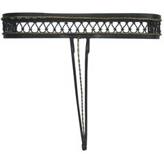 French Mid-Century Partially Gilt Wrought Iron Wall Console Attr. to Rene Prou