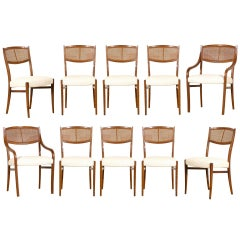 An Incredible Set of 10 Walnut Cane Dining Chairs by Barney Flagg, circa 1960