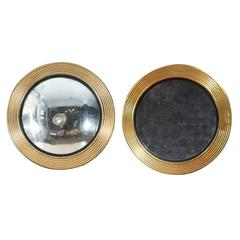 Pair of Concave and Convex Giltwood Mirrors Designed by Tino Zervudachi