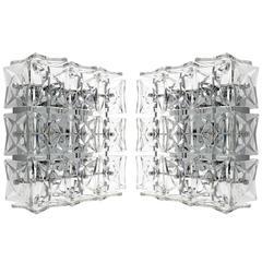 Pair of Kinkeldey Wall or Flush Mount Lights Sconces, Nickel Crystal Glass, 1970